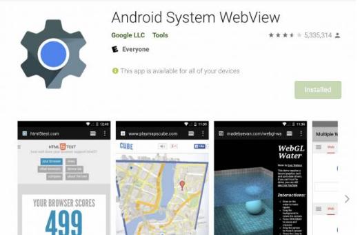 崩溃的安卓应用程序的快速修复是通过WebView更新卸载